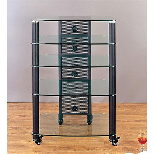 View a large image of the VTI 5-Shelf Mobile Audio Rack Black with Clear Glass NGR405BW here.