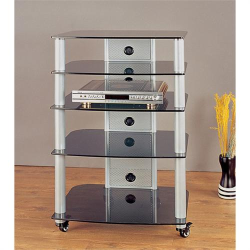 View a large image of the VTI 5-Shelf Mobile Audio Rack Silver with Black Glass NGR405SB here.
