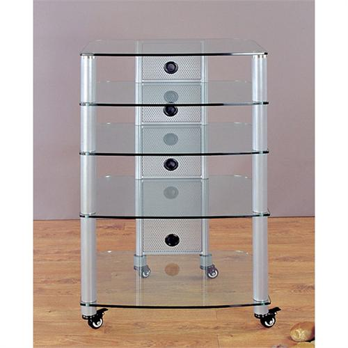 View a large image of the VTI 5-Shelf Mobile Audio Rack Silver with Clear Glass NGR405SW here.