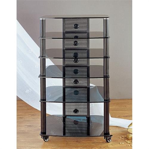 View a large image of the VTI 6-Shelf Mobile Audio Rack Black with Black Glass NGR406BB here.
