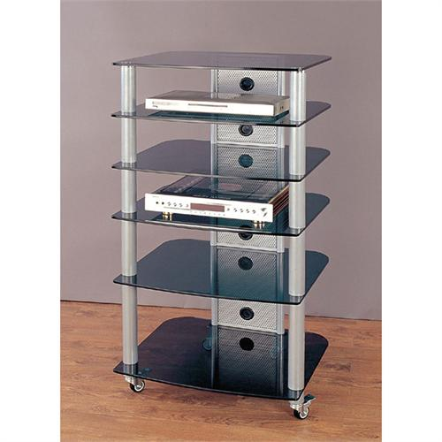 View a large image of the VTI 6-Shelf Mobile Audio Rack Silver with Black Glass NGR406SB here.