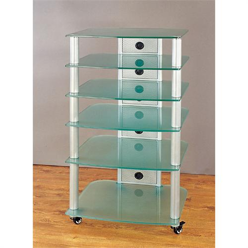 View a large image of the VTI 6-Shelf Mobile Audio Rack Silver with Frosted Glass NGR406SF here.