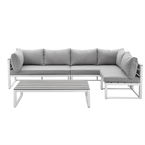 View a large image of the Walker Edison OAW4CSNGY 4 Piece Grey Boardwalk Patio Sectional Set here.