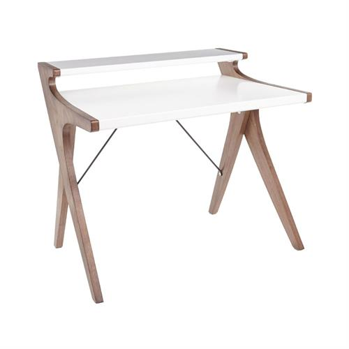 View a larger image of LumiSource Archer Wood Desk (Walnut and White) OFD-ARCHER WLW here.