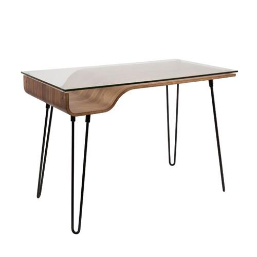 View a larger image of LumiSource Avery Desk with Glass Top (Walnut) OFD-AVERY WL here.