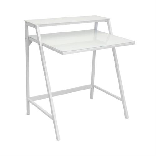 View a larger image of LumiSource 2 Tier Clear Glass Computer Desk (White) OFD-TM-2TIER W here.