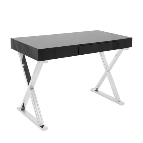 View a larger image of the LumiSource Luster Desk with Storage Drawer (Black) OFD-TM-LSTR BK here.