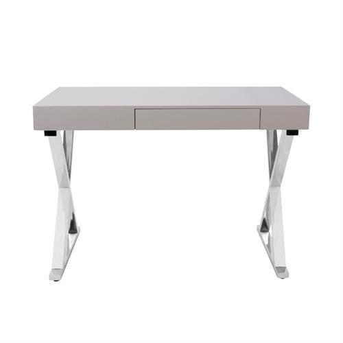 View a larger image of LumiSource Luster Desk with Storage Drawer (Grey) OFD-TM-LSTR GY here.