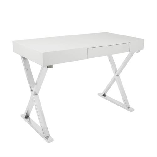 View a larger image of LumiSource Luster Desk with Storage Drawer (Glossy White) OFD-TM-LSTR W here.