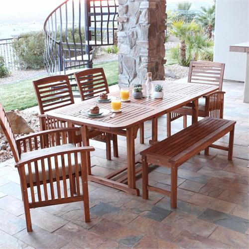 View a large image of the Walker Edison OW6SBR Sundowner 6 Piece Brown Patio Dining Set here.