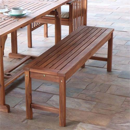 View a large image of the Walker Edison Acacia Wood Patio Bench Brown OWB7SBR here.