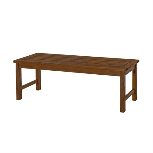 View a larger image of the Walker Edison Acacia Wood Patio Bench (Dark Brown) OWB7SDB here.