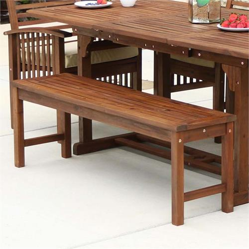 View a large image of the Walker Edison Acacia Wood Patio Bench Dark Brown OWB7SDB here.