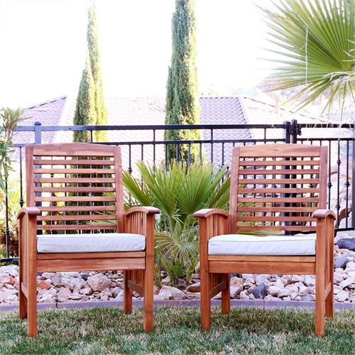 View a larger image of the Walker Edison OWC2BR Set of Two Sundowner Brown Wood Patio Chairs.