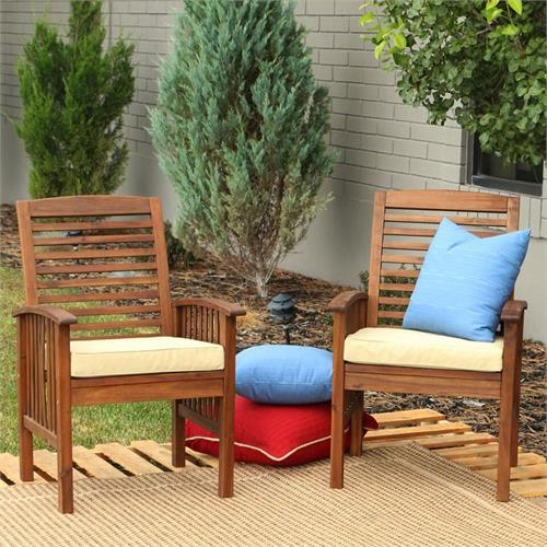 View a large image of the Walker Edison OWC2DB Set of Two Sundowner Dark Brown Wood Patio Chairs here.