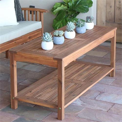 View a large image of the Walker Edison Acacia Wood Patio Coffee Table Brown OWCTBR here.