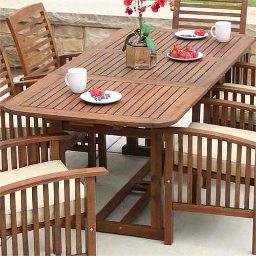View a large image of the Walker Edison Acacia Wood Butterfly Patio Table Dark Brown OWTEXDB here.