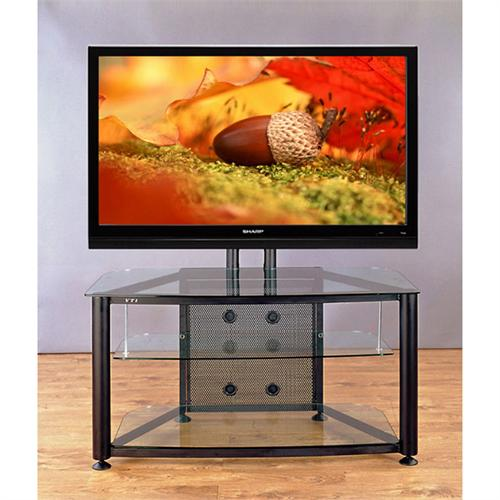 View a large image of the VTI Flat Panel TV Stand for Screens up to 55 inches Black with Clear Glass RFR403BW here.