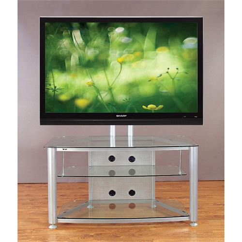 View a larger image of the VTI Flat Panel TV Stand for Screens up to 55 inches (Silver with Clear Glass) RFR403SW.