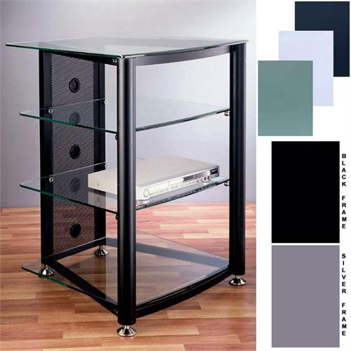 View a large image of the VTI Audio Video Rack with Glass Shelves Various Finishes RGR404S RGR404B here.