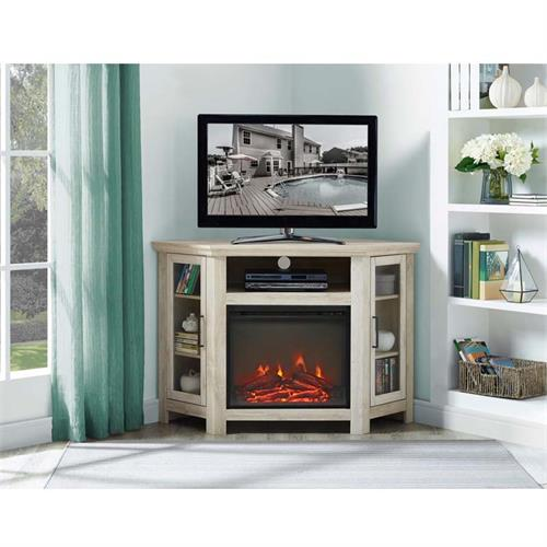 View a large image of the Walker Edison Corner Fireplace TV Stand White Oak W48FPCRWO here.
