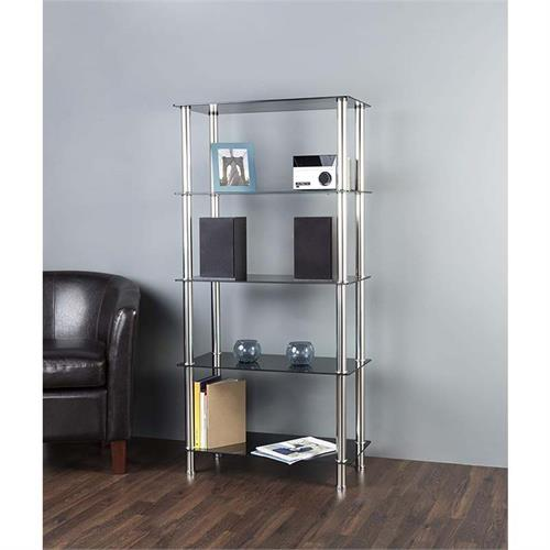 View a large image of the AVF Black Glass 5 Tier Shelving Unit Chrome S25-A here.