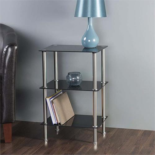 View a large image of the AVF Small Black Glass 3 Tier Shelving Unit Chrome S33-A here.