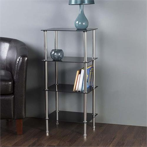 View a large image of the AVF Small Black Glass 4 Tier Shelving Unit Chrome S44-A here.