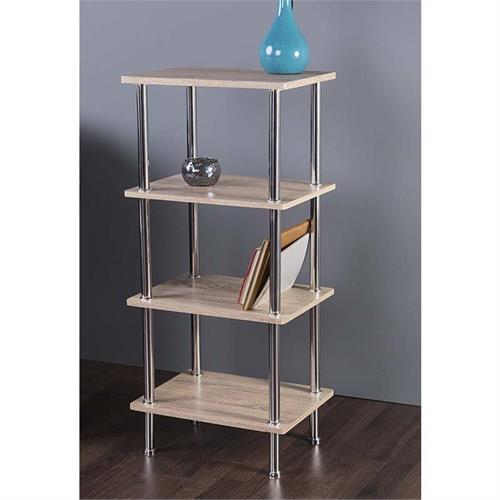 View a large image of the AVF Small Whitewashed Oak 4 Tier Shelving Unit Chrome S44OW-A here.