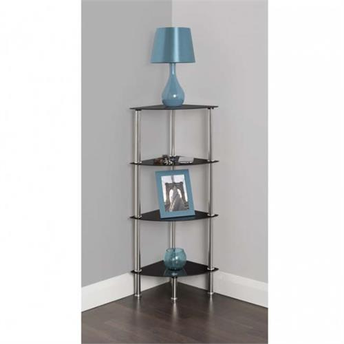 View a large image of the AVF Small Black Glass 4 Tier Corner Shelving Unit Chrome S64-A here.
