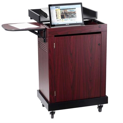 View a larger image of the Oklahoma Sound Smart Cart Lectern in Mahogany SCL-MY here.