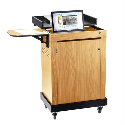 View a larger image of the Oklahoma Sound Smart Cart Lectern in Oak SCL-OK here.