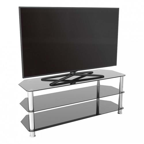 View a large image of the AVF SDC Series Black Glass 60 inch Corner TV Stand Chrome SDC1250-A here.