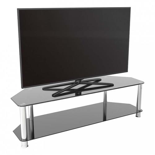 View a large image of the AVF SDC Series Black Glass 65 inch Corner TV Stand Chrome SDC1400-A here.