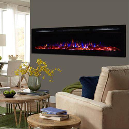 View a larger image of Touchstone Sideline 72 inch Wall Mounted Recessed Electric Fireplace (Black) 80015.