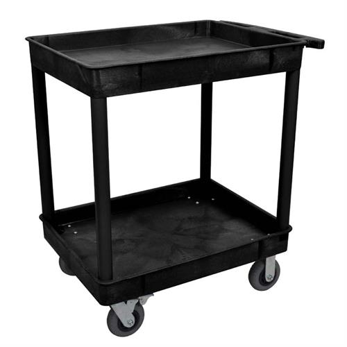 View a larger image of Luxor TC Series 2 Shelf Heavy Duty Utility Cart (Black) TC11SP6-B.