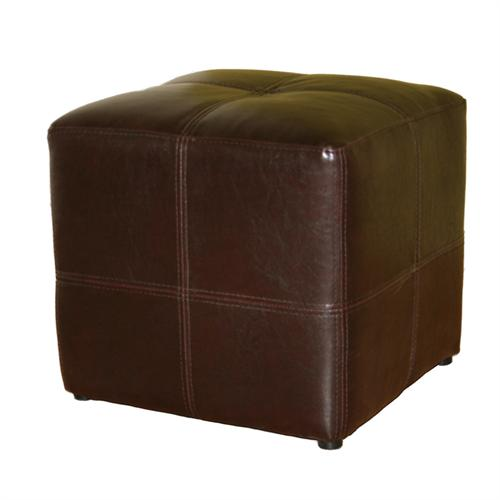 View a large image of the Wholesale Interiors Nox Bicast Leather Ottoman Brown ST-19-DARK BROWN here.