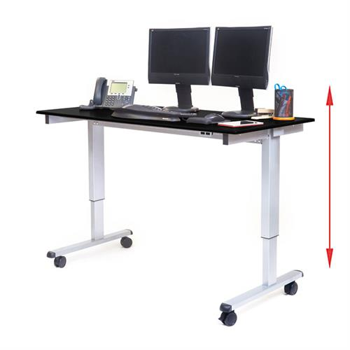 "View a larger image of the Luxor STANDE-60-AG-BO 60"" Electric Standing Desk (Silver & Black Oak)."