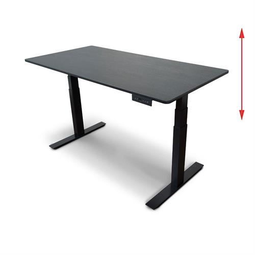 View a large image of the Luxor STANDE-60-BK-BO 60 inch Electric Standing Desk Black & Black Oak here.