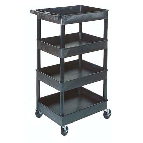 View a larger image of the Luxor Four Shelf Tub Utility Cart with 8.75 inch Clearance (Black, Gray, Putty) STC1111.