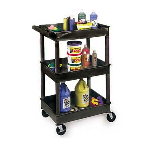 View a large image of the Luxor Three Shelf Tub Utility Cart with 12 inch Clearance Black or Gray STC111 here.