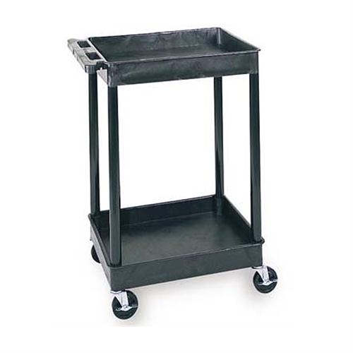 View a large image of the Luxor Two Shelf Tub Utility Cart with 26 inch Clearance Black Gray Putty STC11 here.