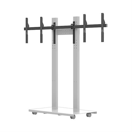 View a large image of the Audio Visual Furniture - Mobile Display Stand for Two 70 inch Screens SYZ80-D-W here.
