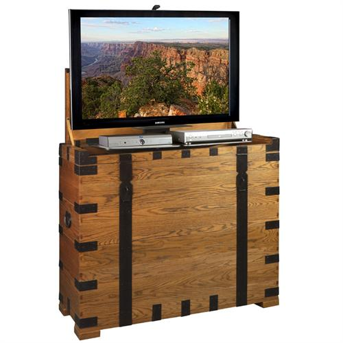 View a large image of the TV Lift Cabinet Steamer Lift for 32-47 inch Screens Oak AT006274 here.