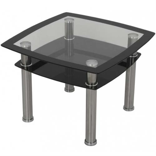View a large image of the AVF Black Glass Double Shelf Side Table Chrome T22-A here.