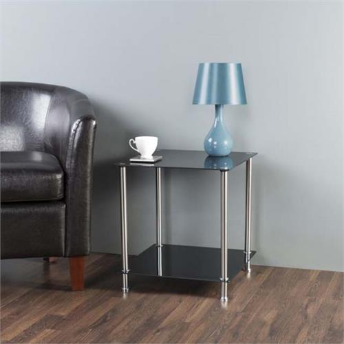 View a large image of the AVF Black Glass 2 Tier Square Side Table Chrome T52-A here.