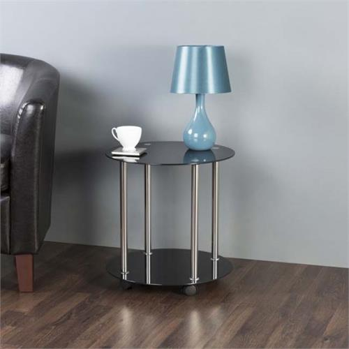 View a large image of the AVF 2 Tier Round Accent Table on Wheels Black Glass and Chrome T62-A here.