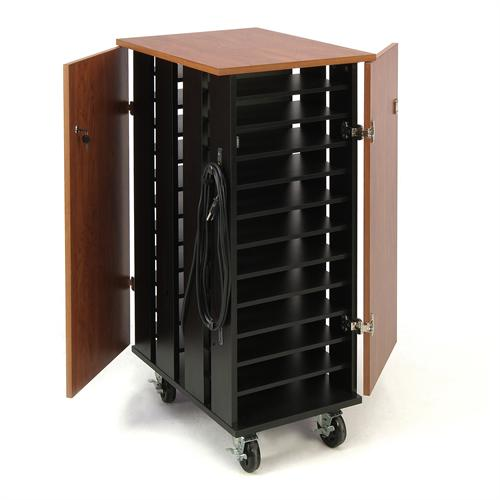 View a large image of the Oklahoma Sound Tablet Charging Storage Cart Cherry & Black TCSC here.
