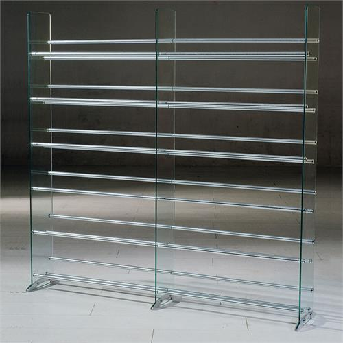 View a larger image of the TransDeco Steel and Glass 792 CD DVD Storage Rack ( & TransDeco Steel and Glass 792 CD DVD Storage Rack Silver TD020S