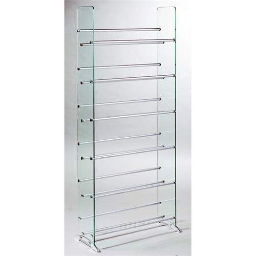 View a large image of the TransDeco Steel and Glass 336 CD DVD Storage Rack Silver Poles TD019S here.